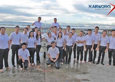 Airworks students after their traditional dodobath.
